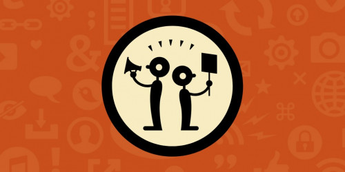 Dark orange bakground with light orange internet and computer symbols. In middle, black circle with black figures holding bullhorn and sign