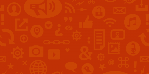 Orange background with technology emblems in lighter orange