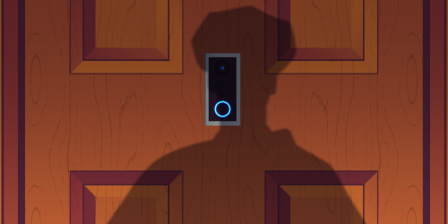 The shadow of a police officer looms in front of a closed door. An Amazon Ring camera device glows blue.