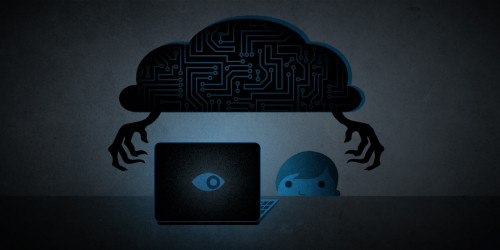 student on laptop under dark cloud with sinister hands