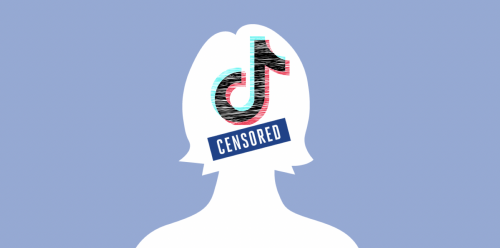 White sihouette of a person, on light blue background, with Tik Tok logo and censored sticker over the face.