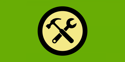 green background with crossed hammer and wrench in black