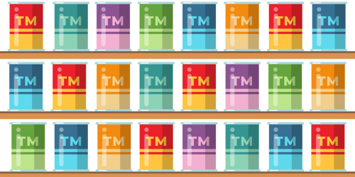 Cans on a shelf with Trademark symbols