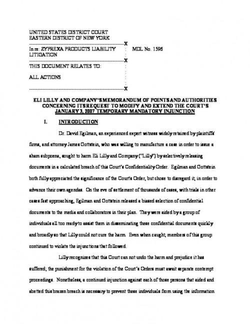Eli Lilly Zyprexa Litigation | Electronic Frontier Foundation