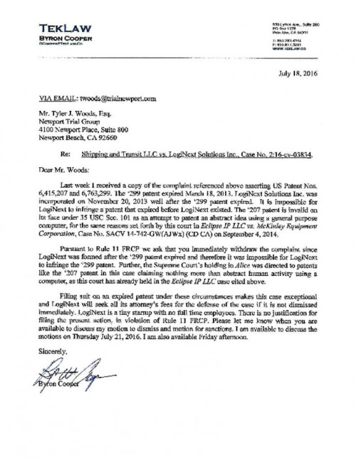LogiNext Letter To Shipping Transit Re Rule 11