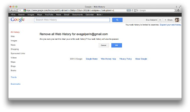 google history3 How to Clear Your Google Browsing and Video History Before the New Google Privacy Policy Is Implemented