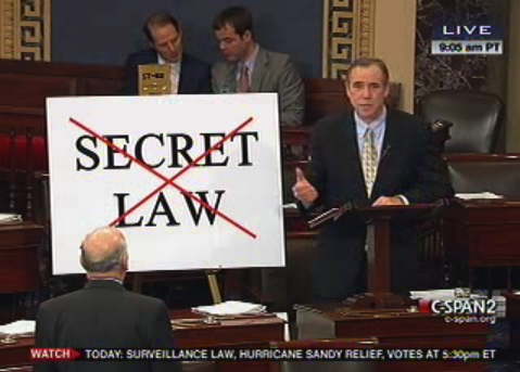 Senator Jeff Merkley urges his colleagues to reject secret laws in the 2012 FISA Amendments Act debate.