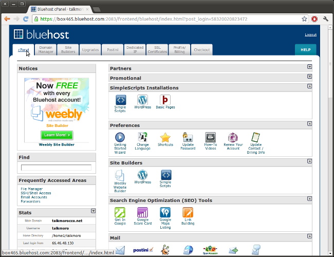 bluehost download database