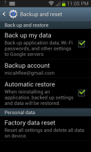 Android Backup settings